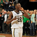 Notre Dame guard Jerian Grant reacts late in the second half of an NCAA college basketball game Wednesday, Jan. 28, 2015, in South Bend, Ind. Notre Dame won 77-73 with Grant leading all scorers 23 points. (AP Photo/Joe Raymond)