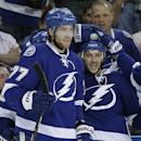 Tampa Bay Lightning right wing Ryan Callahan, right, celebrates his goal against the Montreal Canadiens with teammate Victor Hedman during the second period of an NHL hockey game Tuesday, April 1, 2014, in Tampa, Fla The Associated Press