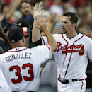 Atlanta Braves' Chris Johnson, right, celebrates with manager Fredi Gonzalaz after hitting a three-run home in the fourth inning of a baseball game against the New York Mets, Wednesday, June 19, 2013, in Atlanta.  (AP Photo/John Bazemore)
