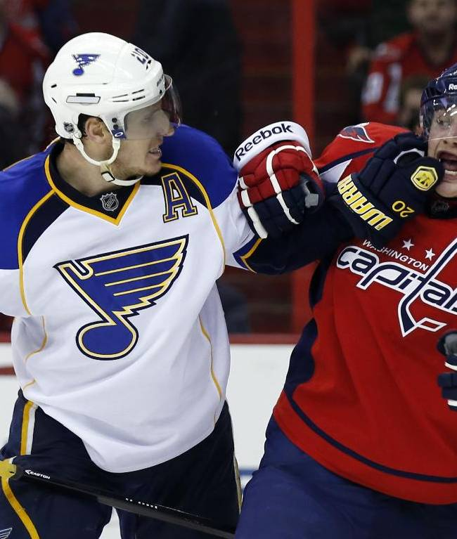St. Louis Blues left wing Alexander Steen (20) scuffles with Washington Capitals defenseman Nate Schmidt (88) in the second period of an NHL hockey game, Sunday, Nov. 17, 2013, in Washington