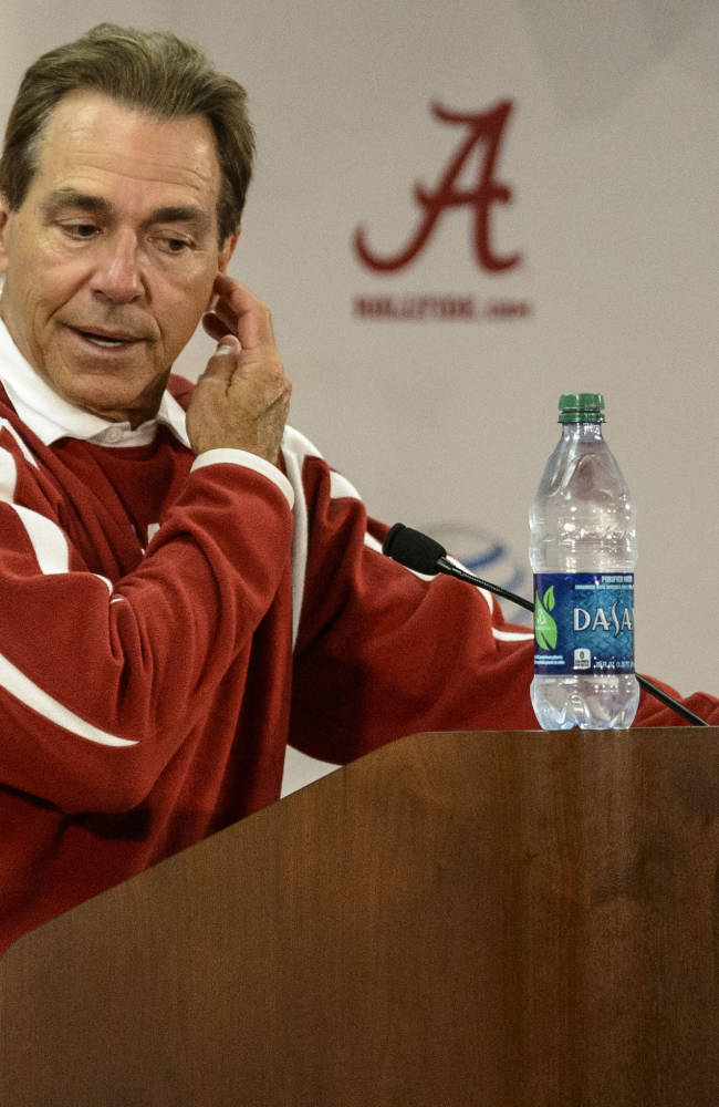 Alabama's Nick Saban speaks during an NCAA college football news conference on Wednesday, April 9, 2014, in Tuscaloosa, Ala