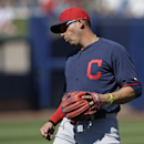 Cleveland Indians shortstop Asdrubal Cabrera reacts after not handling a ball hit by San Diego Padres' Everth Cabrera during the first inning of an exhibition spring training baseball game Saturday, March 8, 2014, in Peoria, Ariz The Associated Press