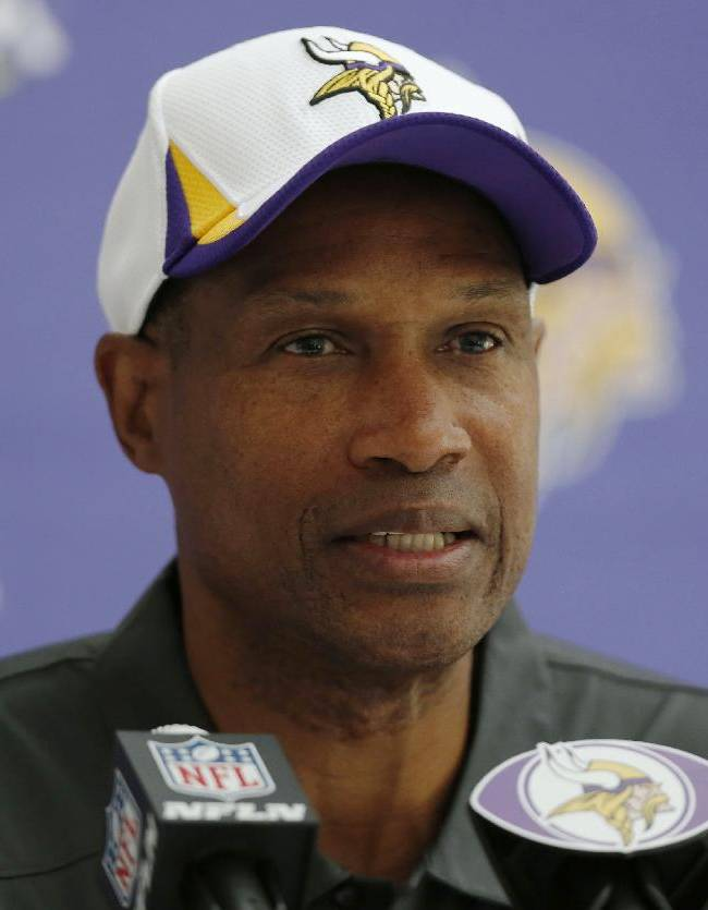 Minnesota Vikings' head coach Leslie Frazier speaks to the media during a press conference at the Grove Hotel in Watford, north London, Wednesday, Sept. 25, 2013. Vikings play Pittsburgh Steelers on Sunday in a NFL regular season football game at Wembley Stadium  in London