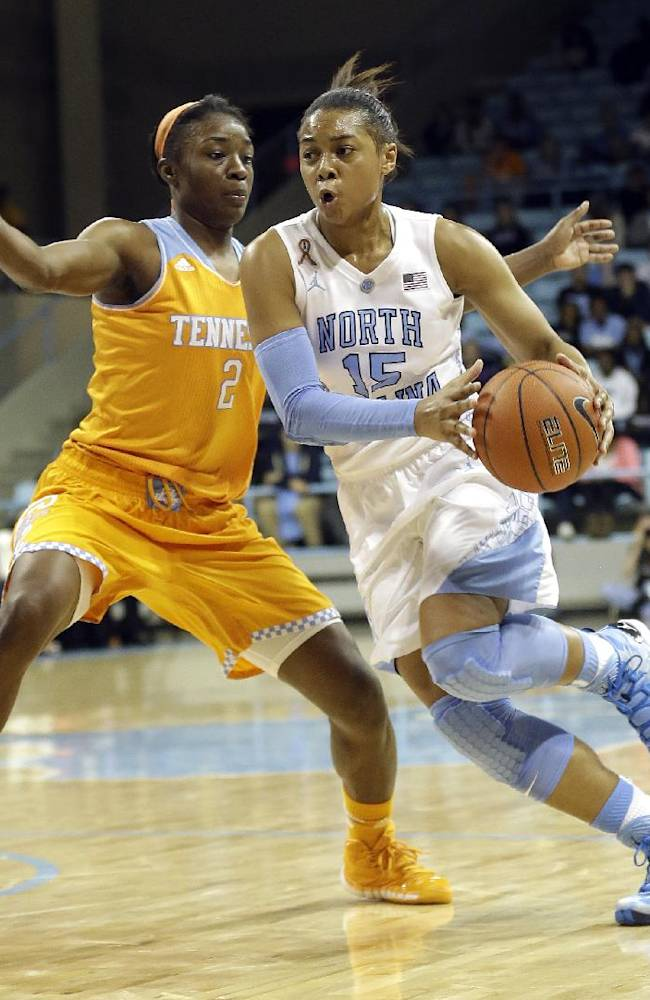 North Carolina's Allisha Gray (15) drives past Tennessee's Jasmine Jones (2) during the second half of an NCAA college basketball game in Chapel Hill, N.C., Monday, Nov. 11, 2013. Tennessee won 81-65
