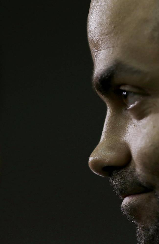 San Antonio Spurs guard Tony Parker listens to a question during a media availability for the NBA basketball finals on Saturday, June 14, 2014, in San Antonio. The Spurs play Game 5 against the Miami Heat on Sunday