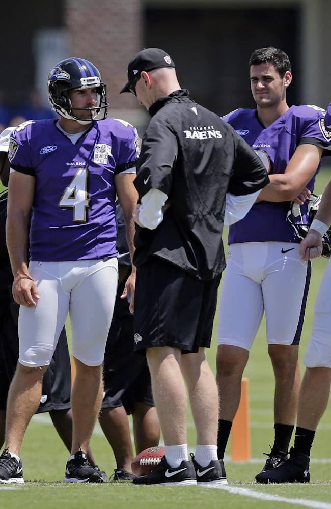 Baltimore Ravens associated head coach Jerry Rosburg, center, chats with kicker Justin Tucker, from left, punter Sam Koch, punter Richie Leone and long snapper Morgan Cox during an NFL football training camp, Saturday, July 26, 2014, in Owings Mills, Md