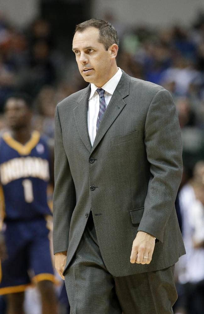 Indiana Pacers' Frank Vogel walks onto the court after calling a time out against the Dallas Mavericks in the second half of a preseason NBA basketball game, Friday, Oct. 25, 2013, in Dallas. The Pacers won 98-77
