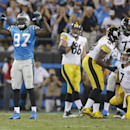 Carolina Panthers' Mario Addison (97) celebrates a sack of Pittsburgh Steelers' Ben Roethlisberger (7) during the first half of an NFL football game in Charlotte, N.C., Sunday, Sept. 21, 2014 The Associated Press