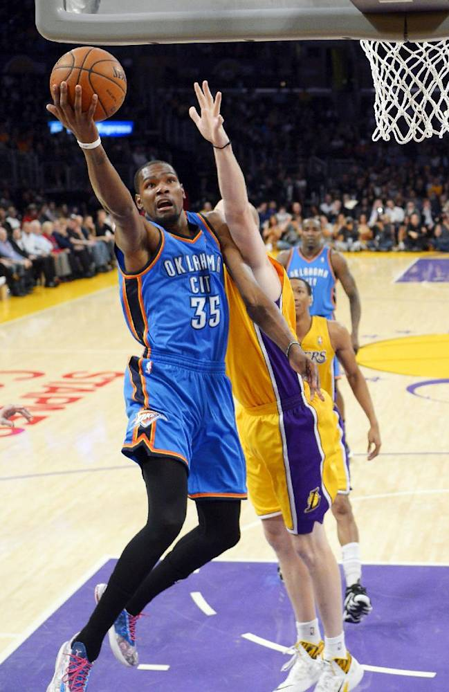 Durant's 43 help Thunder beat Lakers 107-103