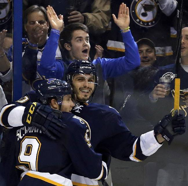 St. Louis Blues' Maxim Lapierre, right, is congratulated by Jaden Schwartz after scoring during the second period of an NHL hockey game against the Columbus Blue Jackets on Saturday, Jan. 4, 2014, in St. Louis