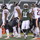 Chicago Bears wide receiver Josh Bellamy (11) reacts after failing to stay inbounds while catching a pass in the end zone against the Chicago Bears during the fourth quarter of an NFL football game, Monday, Sept. 22, 2014, in East Rutherford, N.J. The Be