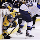 St. Louis Blues defenseman Ian Cole (28) upends Boston Bruins center David Krejci (46) during the second period of an NHL hockey game, Thursday, Nov. 21, 2013, in Boston The Associated Press