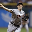 Detroit Tigers starting pitcher Max Scherzer delivers to Tampa Bay Rays' Desmond Jennings during the first inning of a baseball game, Friday, June 28, 2013, in St. Petersburg, Fla. (AP Photo/Chris O'Meara)