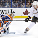 Anaheim Ducks Corey Perry (10) is stopped by Edmonton Oilers goalie Viktor Fasth (35) during first period NHL hockey action in Edmonton, Alberta, on Sunday April 6, 2014 The Associated Press