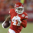 Kansas City Chiefs defensive back Malcolm Bronson runs for a touchdown after intercepting a pass thrown by Cincinnati Bengals quarterback Jason Campbell in the second half of an NFL preseason football game against the Cincinnati Bengals on Thursday, Aug.