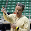 Pittsburgh coach Jamie Dixon gestures during practice for a second-round game of the NCAA college basketball tournament, Wednesday, March 20, 2013, in Salt Lake City. Pittsburgh is scheduled to play Wichita State on Thursday. (AP Photo/Rick Bowmer)