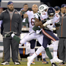 Chicago Bears wide receiver Alshon Jeffery (17) is tackled by New York Jets free safety Antonio Allen (39) in the third quarter of an NFL football game, Monday, Sept. 22, 2014, in East Rutherford, N.J The Associated Press