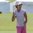 Paula Reto waves after hitting a birdie on the ninth hole during the second round of the Yokohama Tire LPGA Classic golf tournament on Friday, Sept. 19, 2014, in Prattville, Ala. (AP Photo/The Montgomery Advertiser, Albert Cesare)