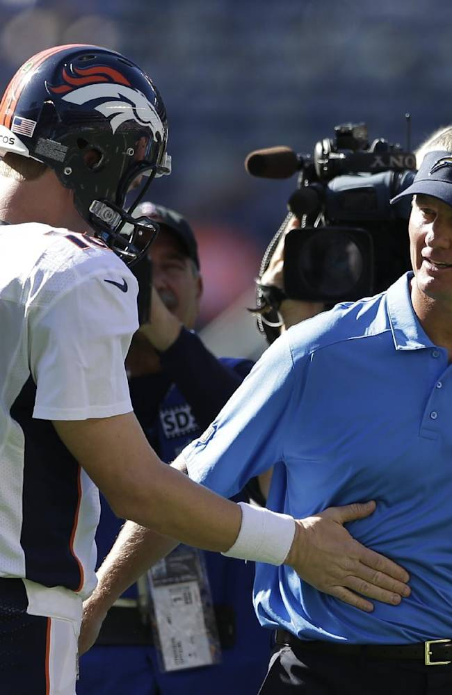 Denver Broncos quarterback Peyton Manning greets San Diego Chargers head coach and former Bronco's offensive coordinator Mike McCoy during warmups prior to a NFL football game Sunday, Nov. 10, 2013, in San Diego