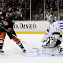 Los Angeles Kings goalie Martin Jones blocks a shot by Anaheim Ducks' Dustin Penner during the second period of an NHL hockey game in Anaheim, Calif., Tuesday, Dec. 3, 2013 The Associated Press