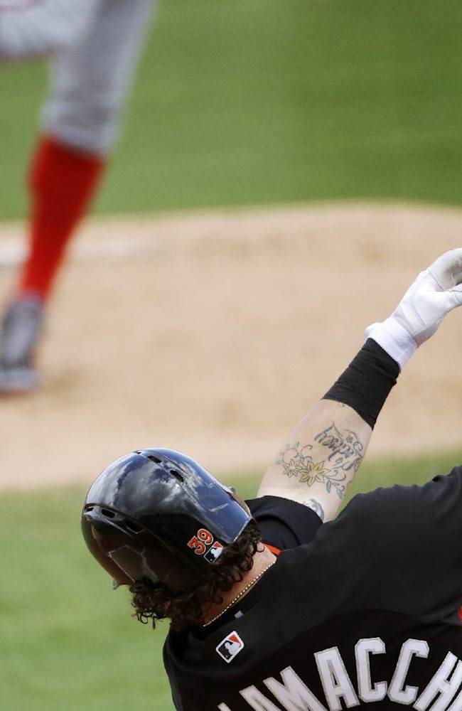 Miami Marlins' Jarrod Saltalamacchia, right, swings for a strike against Washington Nationals starting pitcher Stephen Strasburg, left, in the first inning of an exhibition spring training baseball game, Saturday, March 15, 2014, in Jupiter, Fla