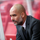 Manchester City Manager Pep Guardiola looks out before the match against Stoke City during their English Premier League soccer match at The Bet365 Stadium, Stoke-on-Trent, England, Saturday Aug. 20, 2016. (Nick Potts/ / PA via AP)