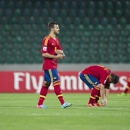 Spain's Jese, second left, and teammates react after their Under-20 World Cup quarter final soccer match between Uruguay and Spain at Atatuerk stadium in Bursa, Turkey, Saturday, July 6, 2013. Uruguay won 1-0. (AP Photo/Gero Breloer)