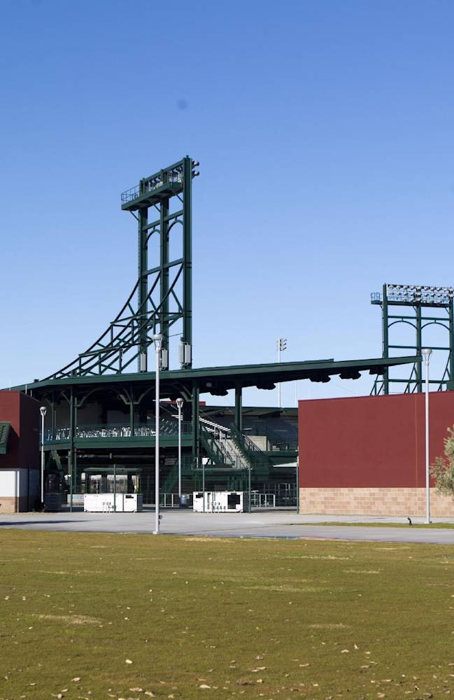 The new baseball spring training stadium for the Chicago Cubs stands in Mesa, Ariz., Wednesday, Jan. 15, 2014. The first Cactus League game at the stadium is scheduled for Feb. 27