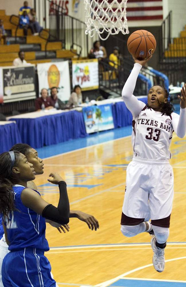 Texas A&M's Courtney Walker, right, goes up for a basket during the first half of an NCAA college basketball game against Memphis in St. Thomas, U.S. Virgin Islands, Thursday, Nov. 28, 2013
