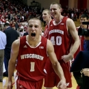 Wisconsin's Ben Brust (1) and Jared Berggren (40) react after defeating Indiana 64-59 in an NCAA college basketball game, Tuesday, Jan. 15, 2013, in Bloomington, Ind. (AP Photo/Darron Cummings)