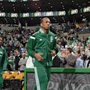 BOSTON, MA - APRIL 23: Phil Pressey #26 of the Boston Celtics gets introduced before a game against the Cleveland Cavaliers in Game Three of the Eastern Conference Quarterfinals during the 2015 NBA Playoffs on April 23, 2015 at TD Garden in Boston, Massachusetts. (Photo by Brian Babineau/NBAE via Getty Images)