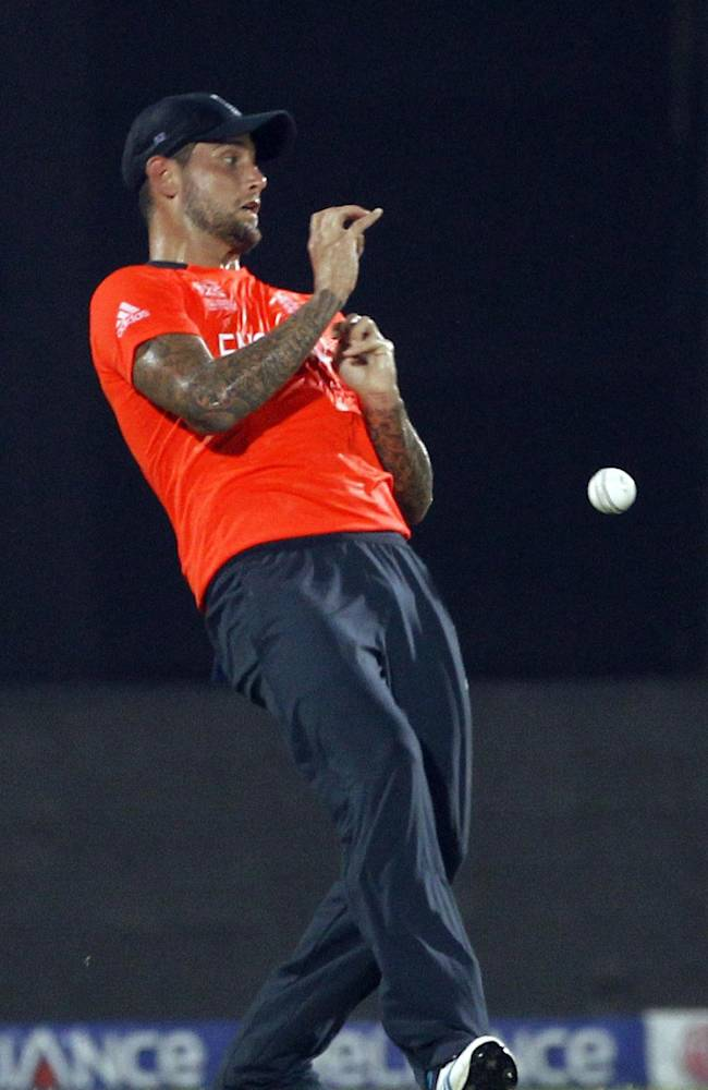 England's Jade Dernbach drops a ball off Sri Lankan cricketer Mahela Jayawardena's shot during their ICC Twenty20 Cricket World Cup match in Chittagong, Bangladesh, Thursday, March 27, 2014