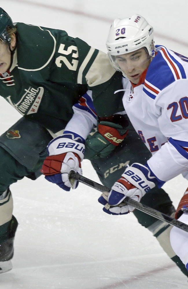 Parise scores early in 3rd, Wild beat Rangers 2-1