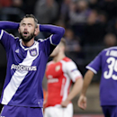 Anderlecht's Steven Defour, reacts after missing a chance to score a goal during the Group D Champions League match between Anderlecht and Arsenal at Constant Vanden Stock Stadium in Brussels, Belgium, Wednesday Oct. 22, 2014