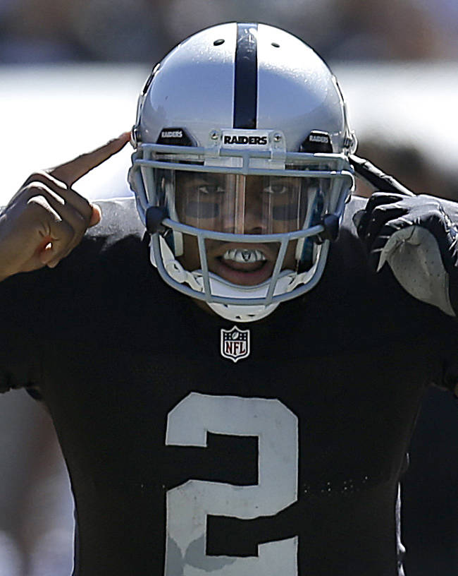 Oakland Raiders quarterback Terrelle Pryor (2) signals at the line of scrimmage during the second quarter of an NFL football game against the Jacksonville Jaguars in Oakland, Calif., Sunday, Sept. 15, 2013