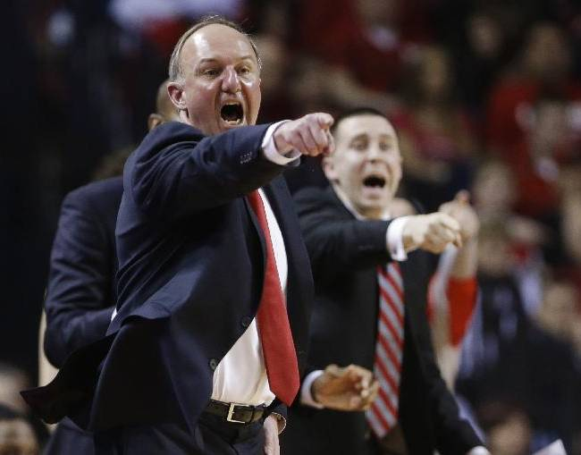 In this Jan. 20, 2014 file photo, Ohio State coach Thad Matta yells instructions in the first half of an NCAA college basketball game against Nebraska in Lincoln, Neb. Having regained some momentum after a calamitous January, the Buckeyes haven't forgotten what Penn State did to them in the first meeting and look to avenge the earlier loss Thursday night, feb. 27,  in State College