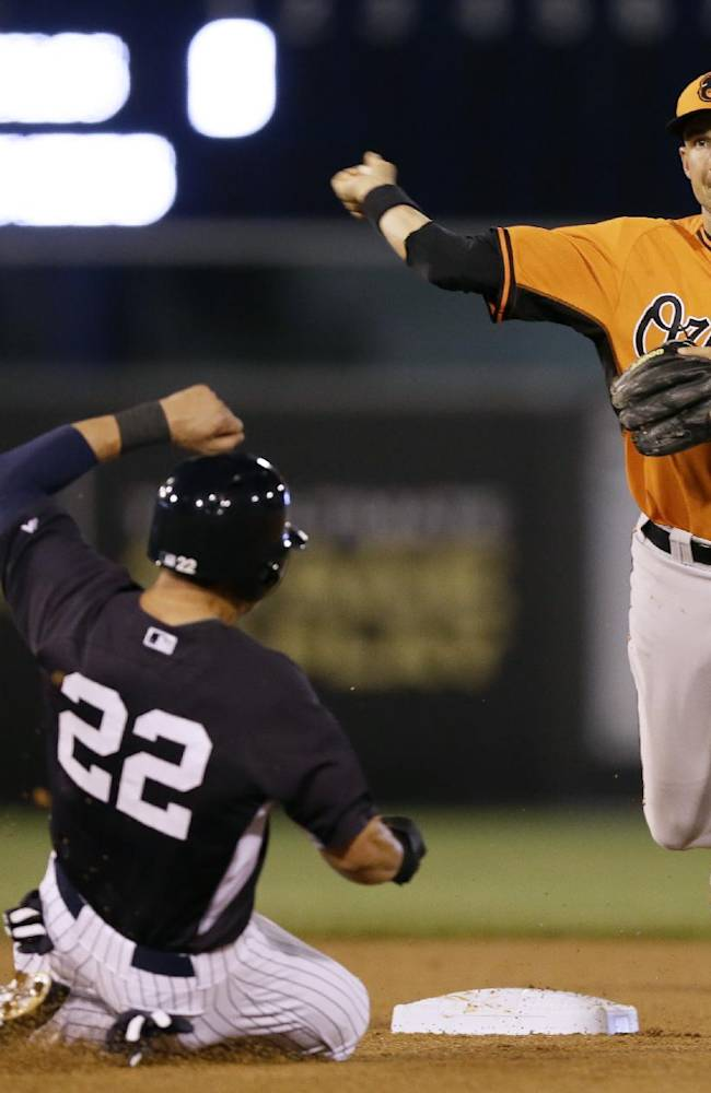 Baltimore Orioles shortstop Ryan Flaherty throws to first after forcing New York Yankees' Jacoby Ellsbury during a double play hit into by Derek Jeter in the first inning of an exhibition baseball game Tuesday, March 4, 2014, in Tampa, Fla