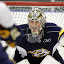 Nashville Predators goalie Pekka Rinne, of Finland, practices at NHL hockey training camp Friday, Sept. 19, 2014, in Nashville, Tenn The Associated Press