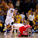 OAKLAND, CA - MAY 21: Stephen Curry #30 of the Golden State Warriors reacts as James Harden #13 of the Houston Rockets fails to hold on to the ball as time expires during game two of the Western Conference Finals of the 2015 NBA PLayoffs at ORACLE Arena on May 21, 2015 in Oakland, California. (Photo by Ezra Shaw/Getty Images)