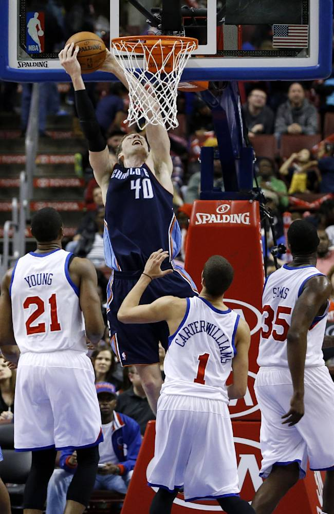 Charlotte Bobcats' Cody Zeller (40) dunks the ball as Philadelphia 76ers' Thaddeus Young (21), Michael Carter-Williams (1) and Henry Sims (35) look on during the second half of an NBA basketball game, Wednesday, April 2, 2014, in Philadelphia. Charlotte won 123-93