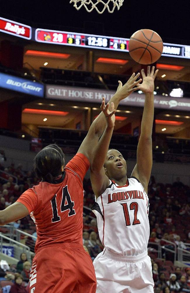 Louisville's Shawnta' Dyer, right, puts a shot up over the defense of Austin Peay's Beth Rates during the first half of an NCAA college basketball game Saturday, Dec. 14, 2013, in Louisville, Ky