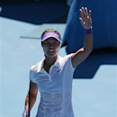 China's Li Na celebrates after defeating Russia's Maria Sharapova in their semifinal match at the Australian Open tennis championship in Melbourne, Australia, Thursday, Jan. 24, 2013. (AP Photo/Aaron Favila)