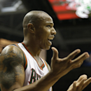 Milwaukee Bucks' Caron Butler reacts to a call during the second half of an NBA basketball game against the Dallas Mavericks on Saturday, Nov. 9, 2013, in Milwaukee The Associated Press