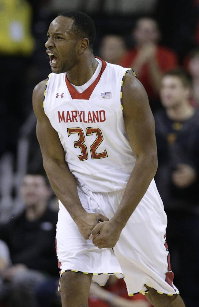 Maryland guard Dez Wells reacts after Miami called a timeout in the second half of an NCAA college basketball game in College Park, Md., Wednesday, Jan. 29, 2014. Wells contributed a team-high 21 points in Maryland's 74-71 win