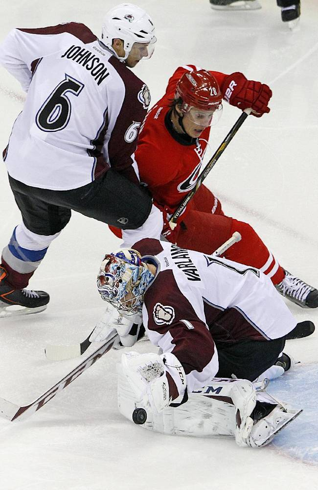 Carolina Hurricanes' Alexander Semin (28), of Russia, battles Colorado Avalanche's Erik Johnson (6) as his shot is stopped by goalie Semyon Varlamov (1) of Russia, during the third period of an NHL hockey game in Raleigh, N.C., Tuesday, Nov. 12, 2013. Hurricanes won 2-1