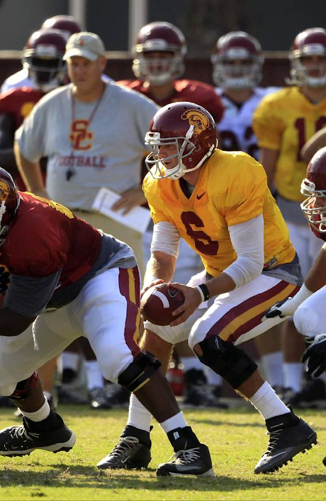 Southern California quarterback Cody Kessler (6) holds the ball during open NCAA college football practice at their Los Angeles campus on Wednesday, Oct. 2, 2013