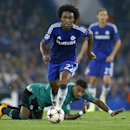Chelsea's Willian wins the ball against Schalke's Kevin-Prince Boateng, on the ground, during the Champions League Group G soccer match between Chelsea and Schalke 04 at Stamford Bridge stadium in London Wednesday, Sept. 17, 2014