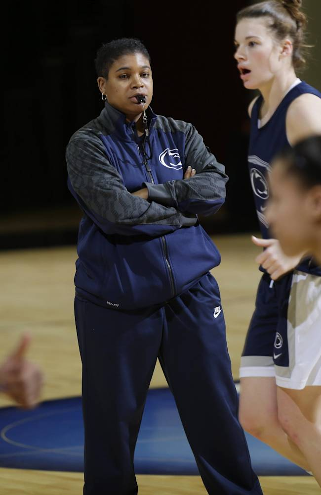 Penn State head coach Coquese Washington directs her team during practice at the NCAA college basketball tournament in Stanford, Calif., Saturday, March 29, 2014.  Penn State plays Stanford in a regional semifinal on Sunday