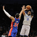 Brooklyn Nets' Marcus Thornton (10) shoots over Detroit Pistons' Peyton Siva (34) in the first half of an NBA basketball game on Friday, April 4, 2014, in New York The Associated Press