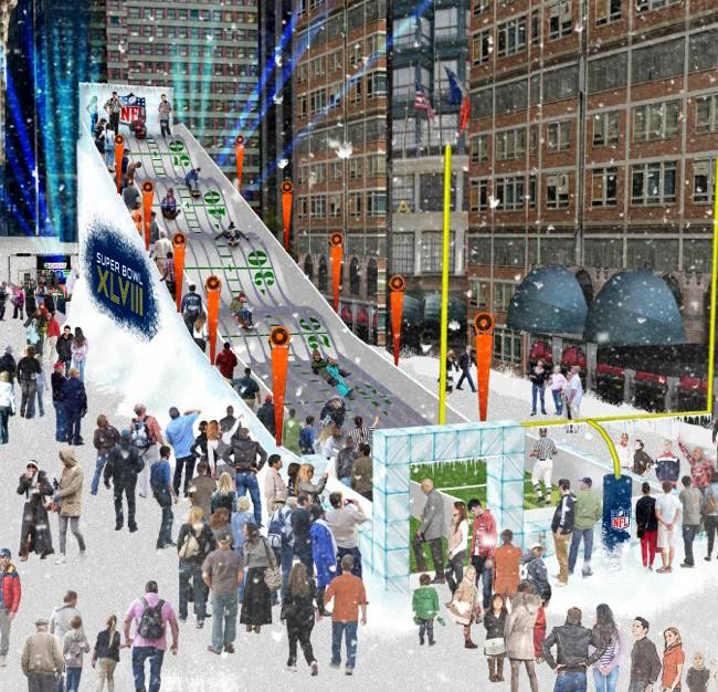 In this undated artist's rendering provided by the National Football League, a proposed toboggan slide is set up in New York. Instead of shrinking from the possibility that football's ultimate championship could be played in a blizzard, organizers of the first outdoor, cold-climate Super Bowl have decided to embrace the snow as the game's unofficial theme. To drive home the wintry theme, a 60-foot high toboggan run will be set up on